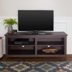 """Manor Park Wood Media Storage TV Stand for TVs up to 65"""", Espresso"""