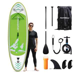 """Famistar 8'7"""" Inflatable Stand Up Paddle Board SUP w/ 3 Fins, Adjustable Paddle, Pump & Carrying Backpack"""