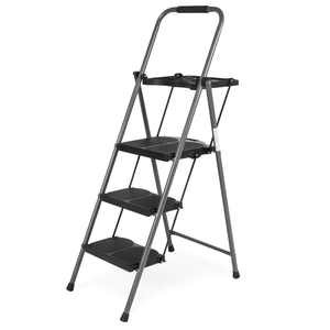 Best Choice Products Folding Steel 3-Step Stool Ladder Tool Equipment with Hand Grip, Wide Platform Steps, 330 lbs Capacity
