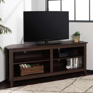 """Woven Paths Transitional Corner TV Stand for TVs up to 65"""", Espresso"""