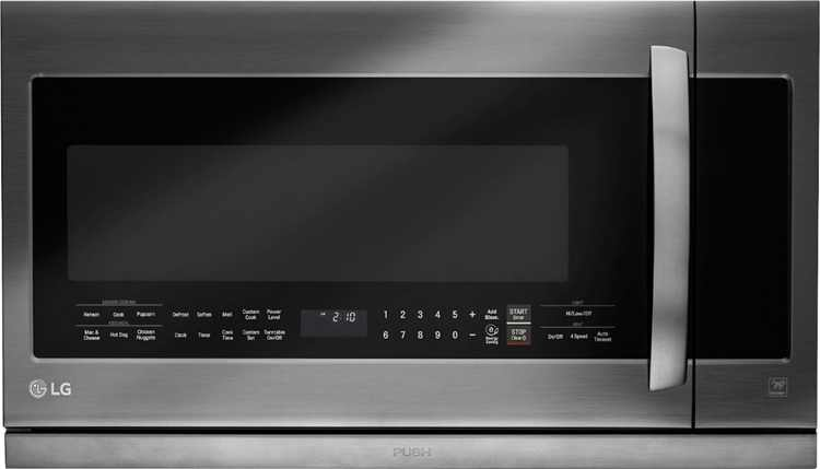 LG - 2.2 Cu. Ft. ExtendaVent 2.0 Over-the-Range Microwave with Sensor Cooking - PrintProof Black Stainless Steel