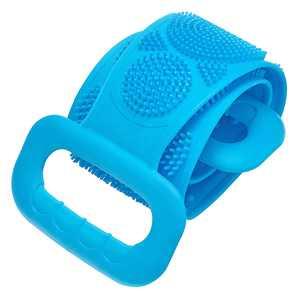JosLiki Silicone Bath Body Brush Back Scrubber Shower Towel Exfoliating Strap Long Handle Scrubbing Belt Blue