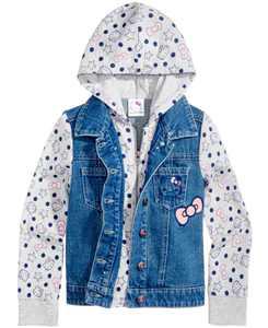 Little Girls Denim Hooded Jacket