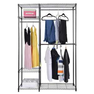 "UBesGoo 48""x18""x71"" 2 Rod Clothes Rack with Hanger 4 Shelves Closet Organizer Storage Rack Wardrobe Garment"