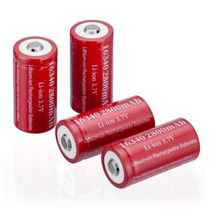 EBL 4-Pack 3.7V 2800mAh CR123A 16340 Rechargeable Batteries for Torch Camera Flashlight