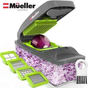 Mueller Onion Chopper 4 Blade Pro Series - Heavy Duty Multi Vegetable Fruit Cheese Chopper Dicer Kitchen Cutter
