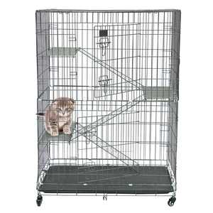 pabby yard Cat Home Cages Pet Crate House, Large Folding Collapsible Pet Crate House, Silver Cat Cage Playpen, Cat Playpen Cat Cage Wire Cage Indoor Outdoor with 3 Ladders