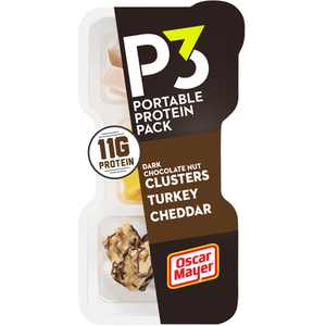 P3 Portable Protein Snack Pack with Dark Chocolate Almond Nut Clusters, Turkey & Cheddar Cheese, 2 oz Tray