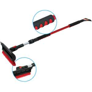 """Bigfoot 60"""" Telescoping Snowbroom and Ice Scraper - One Touch Pivoting Head and Enhanced Foam Grip"""