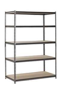 """Muscle Rack Silver Vein 24""""x48""""x72"""" 5 Shelf Steel Shelving"""