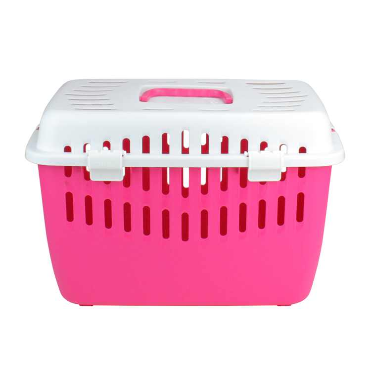 """17.25"""" Pink and White Marchioro Binny Open Top Small Pet Carrier"""