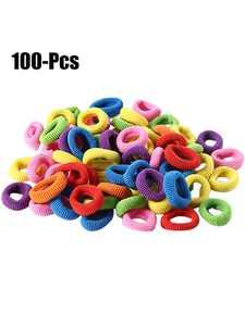 Coxeer 100Pcs Girls Hair Ties Assorted No Crease Elastic Hair Ties Rope Hair Bands Rope for Kids