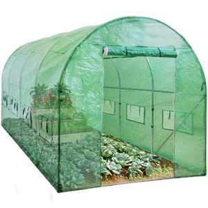 Best Choice Products 15x7x7ft Walk-In Greenhouse Tunnel, Garden Accessory Tent w/ 8 Roll-Up Windows, Zippered Door