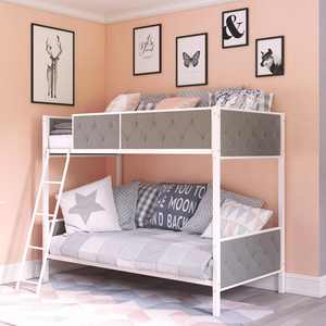 Chesterfield Upholstered Bunk Bed, White Metal with Grey Linen