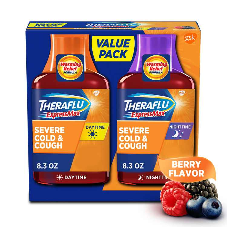 Theraflu Expressmax Day and Nighttime Severe Cold and Cough Syrup, 8.3 Oz., 2 Pack