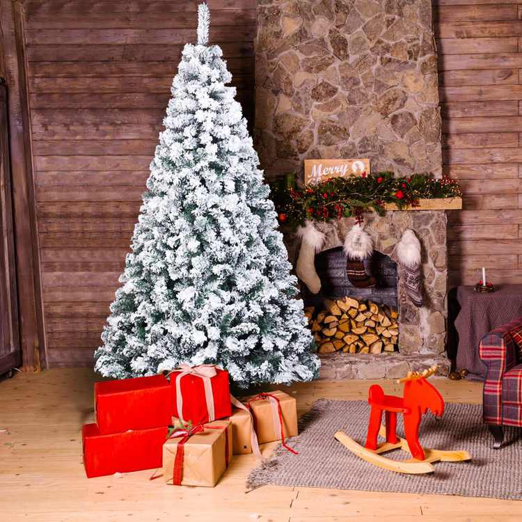 """Zimtown 7ft Flocked Artificial Christmas Tree Snowy Spruce Unlit Xmas Tree, 45.3"""" Wide"""