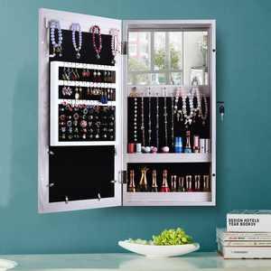 Zimtown Wall Mounted Mirrored Jewelry Cabinet Armoire Makeup Storage Organizer Wood Box