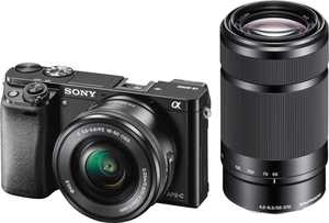 Sony - Alpha a6000 Mirrorless Camera Two Lens Kit with 16-50mm and 55-210mm Lenses - Black