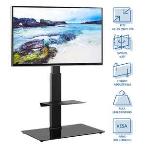 Modern Black Tall Floor TV Stand with Swivel Mount for 32 to 65 inch TVs Glass Base, Black