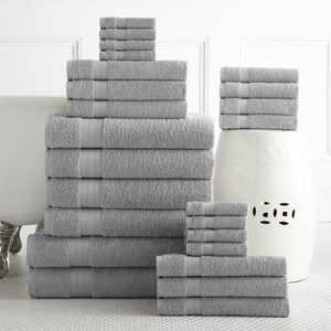 Addy Home Best Value 24PC Bath Towel Set (2 Sheets, 4 Bath, 6 Hand, 4 Fingertip & 8 Wash) - Platinum
