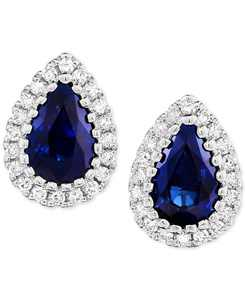 Sapphire (9/10 ct. t.w.) & Diamond (1/8 ct. t.w.) Stud Earrings in 14k White Gold (Also Available in Certified Ruby)