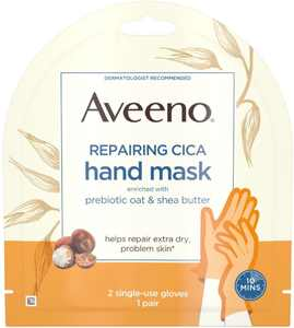AVEENO Repairing CICA Hand Mask with Prebiotic Oat and Shea Butter for Extra Dry Skin, Paraben-Free and Fragran (Pack of 4)