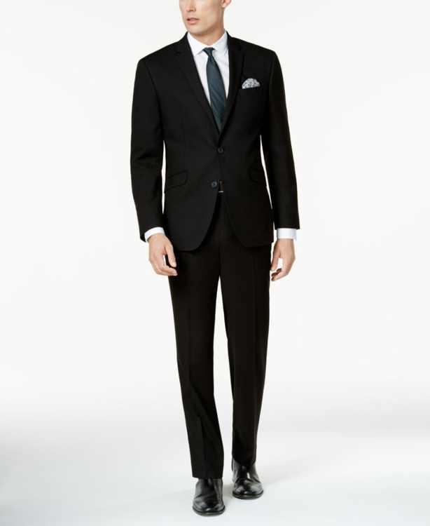 Men's Ready Flex Solid Black Slim-Fit Suit