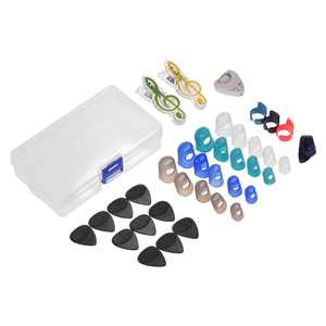 Guitar Accessories Kit Includes 20pcs Silicone Guitar Finger Protectors + 10pcs Guitar Picks + 4pcs Thumb & Finger Picks + Pick Holder + 2pcs Music Page Clips with Storage Box for Acoustic Guitar Beg
