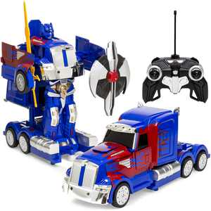 Best Choice Products RC Transforming Toy Semi Truck Robot Car w/ Sounds, 360 Spinning, Rapid Drifting - Blue Red