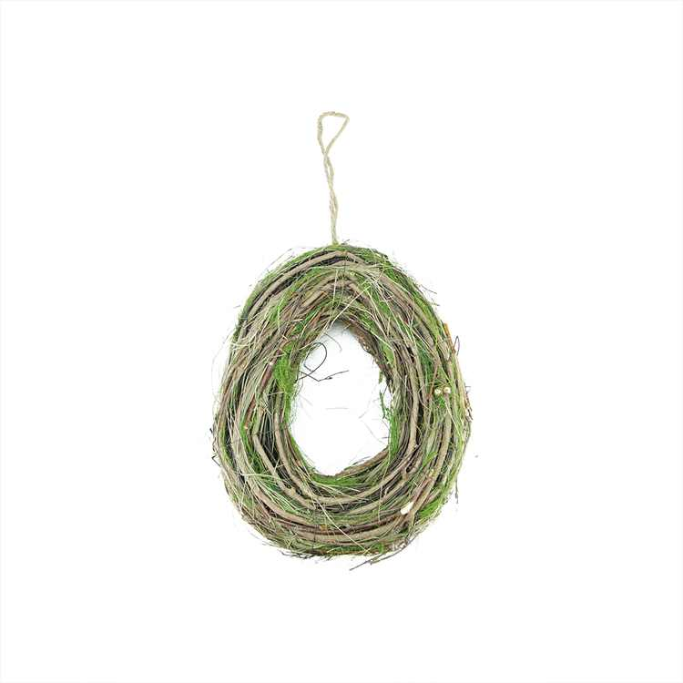 """Northlight 11"""" Unlit Brown/Green Grapevine with Twigs and Moss Egg-Shaped Artificial Spring Wreath"""