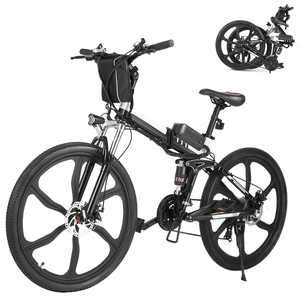 """26"""" 21 Speed 36V Folding Electric Bike Mountain Bicycle with Removable Battery, Bright LED Headlamp and Horn for Adults, Stress-Free Climbing 30"""