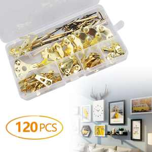 EEEkit 120PCS Assorted Picture Hanging Kit - 49Pcs Heavy Duty Picture Hangers & 71Pcs Nails, Photo Frame Hanging Hooks with Nails for  Wall Mounting Clock Posters Photos, Holds 10-100 lbs