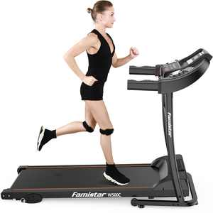 Famistar Electric Folding Treadmill with 12 Programs & 3 Modes, Easy Assembly Running Jogging Machine - LED Display, Heart Pulse System, Rolling Wheels, Built-in MP3 Speaker, 2 Knee Straps As Gift