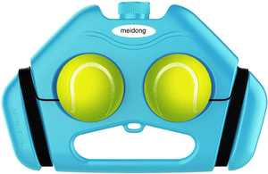 Meidong Tennis Trainer 2 Rebound Balls Anti-Slide Baseboard Anti-Tangle Cord Tennis Self Training Tool(Blue)