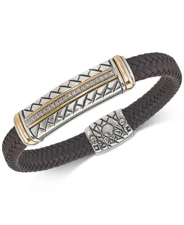 Diamond Brown Woven Leather Bracelet (1/4 ct. t.w.) in Sterling Silver & 14k Gold, Created for Macy's