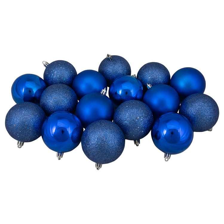"Northlight 16ct Shatterproof 4-Finish Christmas Ball Ornament Set 3"" - Blue"