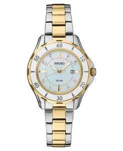 Women's Solar Dress Diamonds-Accent Sport Two-Tone Stainless Steel Bracelet Watch 33mm
