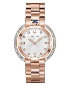 Women's Rubaiyat Diamond (1/4 ct. t.w.) Rose Gold-Tone Stainless Steel Bracelet Watch 35mm