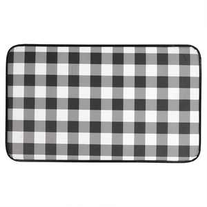 """Buffalo Check Printed Anti-Fatigue Kitchen Floor Rug Mat In Black And White, 18"""" X 30"""""""