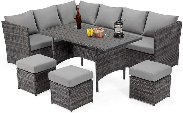 Danrelax 7-Piece Patio Conversation Set, Outdoor Sectional Sofa, PE Rattan Wicker Furniture, Steel Frame, Gray