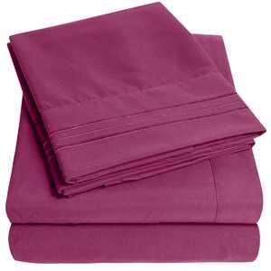 1800 Thread Count 4 Piece Deep Pocket Bedroom Bed Sheet Set Twin XL - Berry