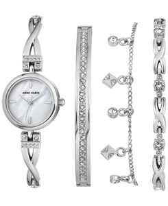 Women's Silver-Tone Bangle Bracelet Watch 22mm Gift Set