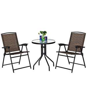 Costway 3-Piece Bistro Patio Garden Furniture Set 2 Folding Chairs Glass Table Top Steel