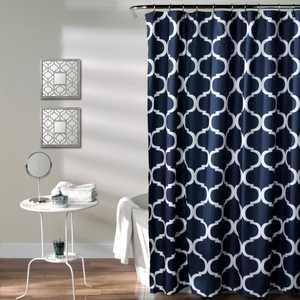 Lush Decor Geo Trellis Polyester Shower Curtain, 72x72, Navy, Single
