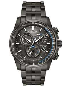 Eco-Drive Men's Chronograph Perpetual Chrono A-T Gray Stainless Steel Bracelet Watch 43mm