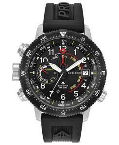 Eco-Drive Men's Promaster Altichron Black Rubber Strap Watch 46mm