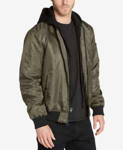 Men's Bomber Jacket with Removable Hooded Inset