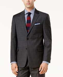 Men's Modern-Fit TH Flex Performance Plaid Wool Suit Jacket