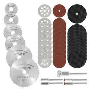 Willkey 41PCS Diamond Cutting Wheel Cut Off Discs Coated Rotary Tools W/Mandrel 22mm for Dremel (Cutting Wheel Set)