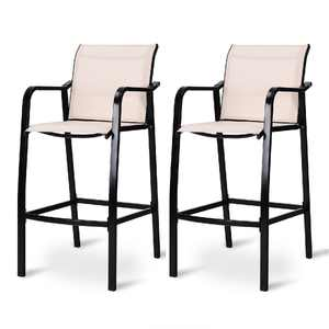 2 Pieces Patio Bar Chair Counter Height Stool Indoor & Outdoor
